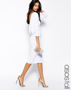 Image 1 of ASOS TALL Cowl Back Midi Body-Conscious Dress