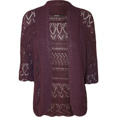 Anne Crochet Knitted Shrug (22 CAD) ❤ liked on Polyvore featuring plus size women's fashion, plus size clothing, plus size outerwear, purple, shrug cardigan, purple shrug, crochet shrug, cardigan shrug and short sleeve shrug cardigan