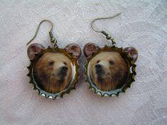 Brown bear bottle cap earrings Bottle Cap Earrings, Drop Earrings, Brown Bear, Drop Earring