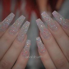 """White matte nails with diamond glitter @nailsbyeffi Repost @monakattan """