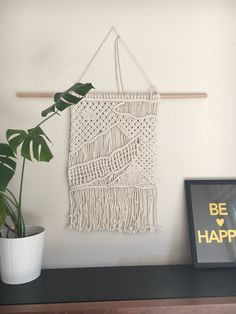 Landscape picture macrame wall hanging - mountains by Macrametry on Etsy
