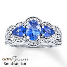 Natural Sapphire Ring 3/8 ct tw Diamonds 14K White Gold