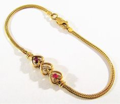 ESTATE MARKED 14K SOLID YELLOW GOLD RUBY & DIAMOND HEARTS ON CHAIN BRACELET 4.2g #Chain