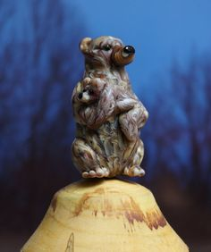 RESERVED for Carp 308 - Mama Grizzly Bear lampwork glass bead by Cleo Dunsmore Grama Tortoise 12 animal sculpture original artwork