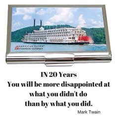 In 20 years you will be more disappointed by what you didn't do than by what you did. Mark Twain.  I love this quote and try to remember the message each day!  The American Queen seems to be the perfect get away that this thought can be applied.  We are in the process of making custom business card holders just like this for The American Queen.  Be sure and click the link in my bio to get your free ebook with lots of tips and inspiration to create your own custom signature gifts. by…
