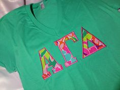 Alpha Gamma Delta Lilly V-Neck T-Shirt in by GreekCreationsByDi