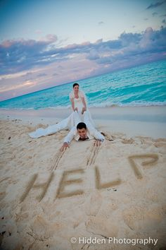 Funny couple picture, beach wedding