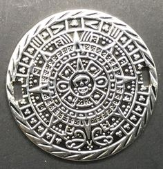 Sterling Silver Mayan Aztec Calendar Disc  Medaillon Bracelet 925 DIY  #Unbranded