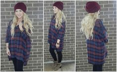 We are OBSESSED with our over-sized plaid boyfriend button up! This is such an easy top to throw on for a comfy/casual day! We have it paired with our Best Basic Legging in black, our All Laced Up Boot, & our Perfect Slouch Beanie in plum!