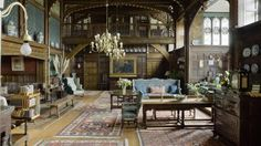The Great Parlour, looking towards the minstrels' gallery, at Wightwick Manor, Wolverhampton, West Midlands Wolverhampton, Victorian Manor, Victorian Art, English Architecture, Classical Architecture, English Interior, English Decor, Manor Garden, Arts And Crafts Interiors