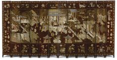 A Chinese Coromandel brown and polychrome-decorated carved lacquer twelve-panel screen Qing Dynasty, 18th century   Lot   Sotheby's