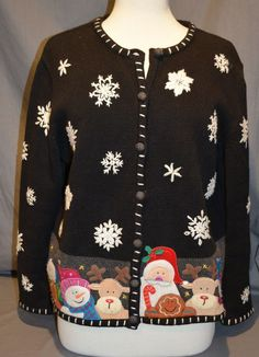 Studio Joy Sz PL Black Santa Cardigan Sweater Button Up Tacky Ugly Christmas #StudioJoy #Cardigan