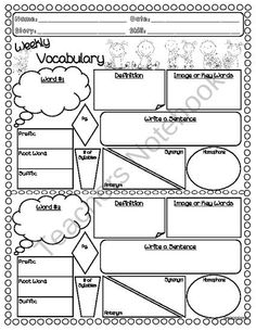 VOCABULARY PLACEMAT: PRINTABLE GRAPHIC ORGANIZER FOR