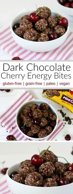 These paleo-friendly Dark Chocolate Cherry Energy Bites are super-simple and are a budget-friendly alternative to more expensive store-bought fruit and nut bars | http://www.therealfoodrds.com |
