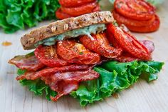 A recipe for Slow Roasted Tomato BLT : Slow roasting tomatoes brings out their flavour and this concentrated flavour takes your average BLT sandwich from great to amazing! Blt Recipes, Great Recipes, Cooking Recipes, Favorite Recipes, Healthy Recipes, Chipotle Recipes, Chipotle Mayo, Interesting Recipes, Recipes Dinner