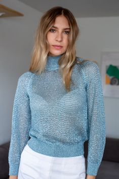 JONI Sweater in Arctic Blue – MILA ZOVKO Knitting Projects, Mock Neck, Arctic, Night Out, How To Make, How To Wear, Turtle Neck, Model, Sweaters