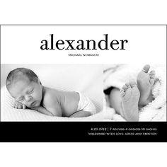 Bold Baby -- Boy Photo Birth Announcement
