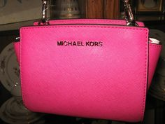 MICHAEL KORS SAFFIANO LEATHER FUSCHIA SELMA MINI MESSENGER PURSE NEW #MichaelKors #MessengerCrossBody