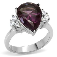 High Polished Stainless Steel Purple and Clear AAA CZ Women's Ring