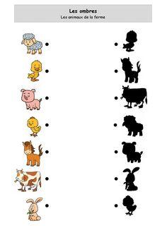 Shadows of farm animals Preschool Learning Activities, Toddler Preschool, Toddler Activities, Preschool Activities, Kids Learning, Activities For Kids, Fun Worksheets For Kids, Preschool Worksheets, Community Helpers Preschool