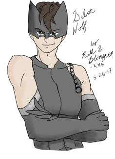Silver Wolf, my Miraculous character (look up Miraculous Ladybug and Chat Noir). Secret identity Adam Mason. Power: shadow creation. Weapon: magically extending chain. Kwami: Myrroo; gabby, chubby, and gray with wolf-like ears and tail, eats garbage. Miraculous: teardrop shaped gray pin, usually worn on belt or wide, fabric bracelet. Drawn by Ruth E B on Autodesk Sketchbook (drawn using finger because no stylus works on my tablet).