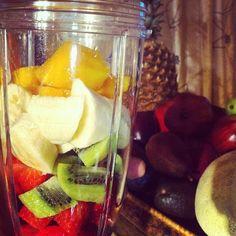 #Nutribullet time. Kiwi, Strawberry, Banana, Mango & some grapefruit juice #nutriblast