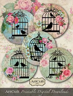 Printable obtain SWEET BIRD CAGES inch measurement photos Digital Collage Sheet for Pocket Mirrors cupcake toppers Paper Weights Reward tags Cd Crafts, Diy And Crafts, Arts And Crafts, Paper Crafts, Diy Paper, Bird Paper Craft, Paper Art, Collage Sheet, Collage Art