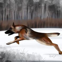 Run puppy run. #dog #dogsofinstagram #germanshepard #picoftheday #dailydoodle #instaart #instadogs #dogs #puppies #snow #forest #dog #canine #dogsofinsta #dogstagram #dogscorner #dogsofinstaworld #dogart #digitalart #drawingoftheday