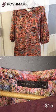 """The Limited - Multi color """"silky"""" blouse Adorable top with beautiful spring colors. Goes with anything! The Limited Tops Blouses"""