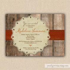 Rustic Fall Baby Shower Invitations - Autumn Orange Shower Invitations