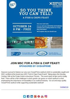 @Canada_MSC Fish Challenge for Sustainable Seafood Event, free Oct 24 The Drake