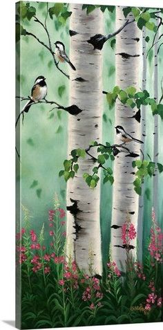 Contemporary painting of a chickadee perched on the branch of a birch tree.