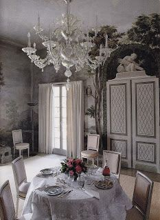 La Fiorentina --  The dining room at the time of the Lawrences remained as decorated by Billy Baldwin with the 18th-century tromp l'oeil frescoes in shades of beige and green installed by Rory Cameron. The dining table is set with old porcelains, English silver and crystal glasses by decorator Tom Wilson.