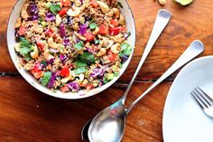 Crunchy Cashew Thai Quinoa Salad with Ginger Peanut Dressing | Tasty Kitchen Blog--This is the exact same recipe as the one in Ambitious Kitchen, but I am unable to get into that website, so I have posted this instead.  It is a reprint of her recipe.