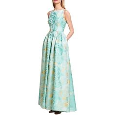 Pre-owned Adrianna Papell Mint Green Floral Print Jacquard Ballgown... ($225) ❤ liked on Polyvore featuring dresses, mint green, mint green dress, v back dress, jacquard dress, pleated dress and adrianna papell dresses