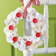 Buttoned-Up Wreath -- For a cute-as-a-button project, try this simple idea. Using a cardboard base, hot-glue various-size buttons in layers until the wreath looks full. Hang with holiday ribbon on the back of a chair or simply hang from a door to greet holiday guests.
