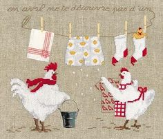 chickens on laundry day cross stitch Chicken Cross Stitch, Cute Cross Stitch, Cross Stitch Bird, Cross Stitch Animals, Cross Stitch Designs, Cross Stitching, Cross Stitch Embroidery, Embroidery Patterns, Cross Stitch Patterns