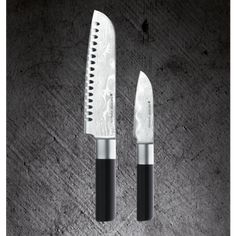 ASIA SET, 2 PIECES--- Contains Paring Knife and Santoku Knife.   THE BLADE ---Japanese VG10 66-layer Damascus steel ---Ice hardened structure: finer and more compact ---Strength of 60-62 Rockwell