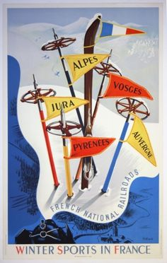 Skiing Winter Sports in France, 1947 - original vintage ski poster by Vecoux listed on AntikBar.co.uk