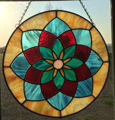 Stained Glass Multi Color Sun Burst by GlassAffects on Etsy
