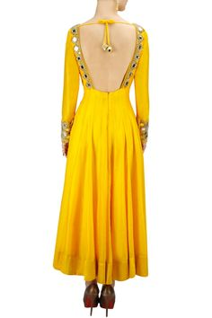 Sunny yellow mirror work anarkali set: Arpita Mehta
