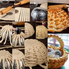 Braided basket made of bread.