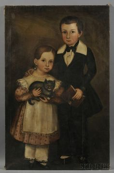 American School, Early 19th Century Folk Portrait of a Boy Holding a Book, and His Sister, Holding a Cat, c. 1840. | Sale Number 2585B, Lot Number 32 | Skinner Auctioneers