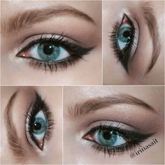 Winged eyeliner. Cat eye makeup