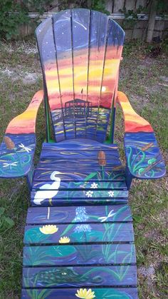 Amy Stump - Florida Artist painting custom Adirondack Chairs! http://amylstump.wix.com/amyarts-designs