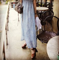 maxi dress + brown sandals + moto bag