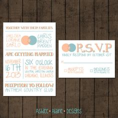 LOVE THESE!!!   Modern Coral and Teal Wedding Invitation by AshleeAlaineDesigns, $20.00
