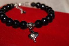 náramok - perly - čierne