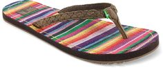 Sanuk Poncho Viva Flip Flops add a pop of surprise color to your outfit.