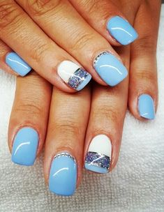 Light Blue And White Nails To Stay Simple